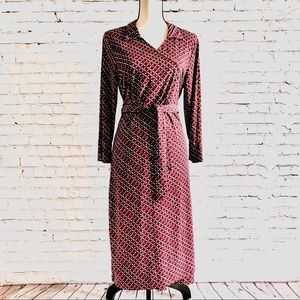 Attention Plum Pattern Wrap Dress Size L